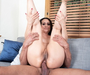 Thick older lady Talia Williams rides her younger lovers penis