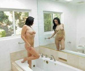 Dark haired American chick Angelica Louring gets wet before fucking involving the tub