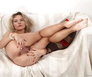 Older dirty blonde Regina spreading hairy vagina after stripping naked