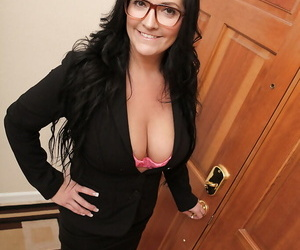 Sassy adult lady in glasses skimpy say no to titanic jugs and vibing say no to intrude