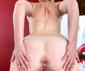 Marie McCray spreads pussy lips wide and shows what is inside her love tunnel