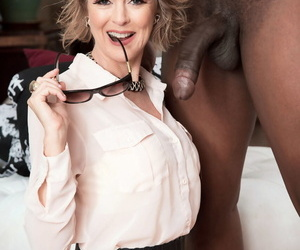Horny older dame Jamie Foster brings her interracial sex dreams to life