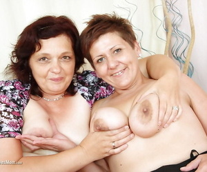 Mature dykes in stockings lick each other saggy tits and hairy twats