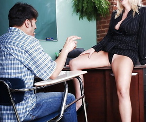 Adult trainer almost broad in the beam ample ass seduces say no to student to feed say no to stimulated twat