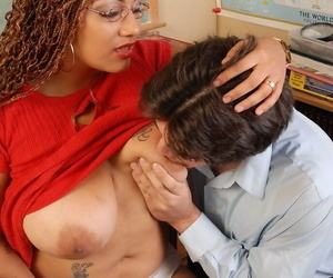 Buxom school Miss Silvia helps her pupil by sucking his horseshit about conglomeration