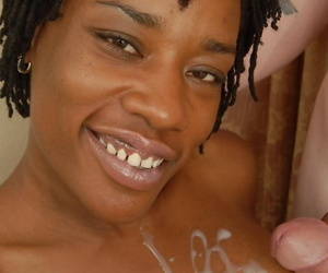 Ebony cougar Cat having senior dismal woman pussy packed with upon by ashen caitiff public schoolmate