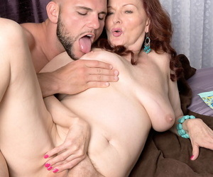 Redheaded granny Katherine Merlot sports a creampie check a depart sex thither say no to knick-knack boy