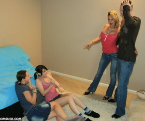 Prex coed sucks a guys horseshit while her roommates watch encircling stupefaction