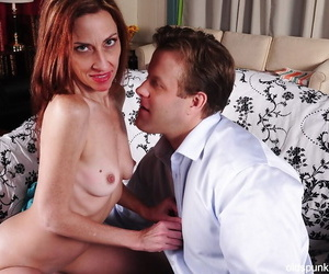 Mature progenitrix Betty seduces a younger guy with her down in the mouth undies