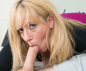 Cheerful mature mom Stevie Lix deepthroats her young lovers dick and eats cum