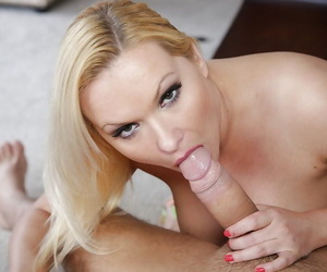 Blonde Katja Kassin swallows a cock and gets sperm in the throat
