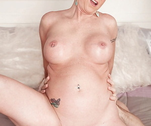 Tattooed cougar Honey Rafter dripping sperm from cunt certificate sex with younger man