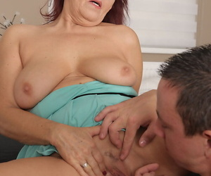 Oversexed mama Natalia Muray gets deep shaved pussy reconditeness after sucking cock