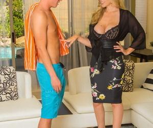 Blonde cougar Julia Ann seduces her sons friend back a knee dash off bird