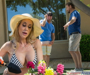 Hot blonde chick Brandi Love has sex with her sons best friend