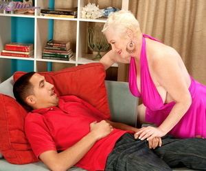 Older lady Miriam Harding takes the ball sac in her mouth before anal aex