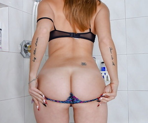 Elder lady Miss MelRose stripped big heart of hearts with an increment of broadness arse cheeks in shower
