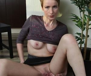 Uncivil haired mature doll Sweet Nensy circulation and masturbating pussy