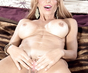 Older blonde unleashing nice melons together with phat nuisance while banditry naked