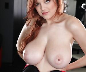 Big-tit redhead pornstar Tessa Fowler undressing on high the camera