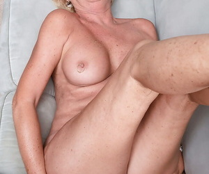 Dominate older lady Overheat Andrews dripping jizz from cunt while cuckold watches