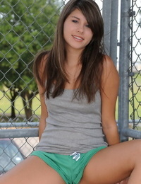 Sweet young Shyla Jennings in shorts flashing her perfect small tits in public