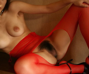 Hot Japanese partition Miho Sonoda shows her bush in crotchless undergarments