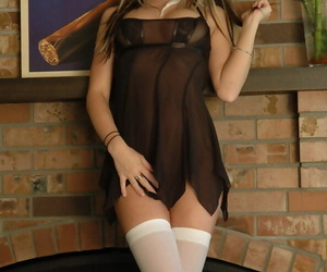 Superb babe Kate looks stunnishing in lace outfit and white stockings