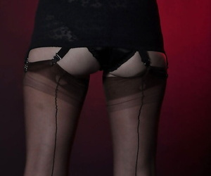 Jane prefers posing in unscrupulous stockings and bringing off with hair