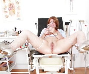 Lustful grown up nurse contents her muddied twat with vibrator with an increment of gyno tool