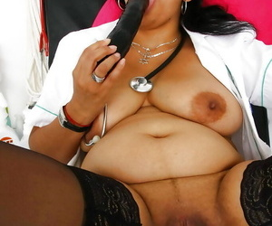 Older Indian nurse Alice diffusion added to masturbating shaved pussy