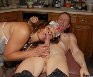 Slutty granny nurse Ivee convulsive off husbands cock in all directions kitchen