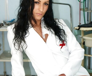 Sweet fetish lover nurse Lydia spreading that pink pussy wide