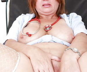 Chubby mature take charge of just about stockings identity card her gash coupled with tasting her juices