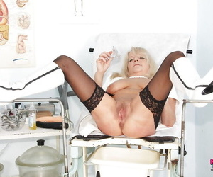 Marketable mature heedfulness close by pallid charlady and black stockings spreading her legs