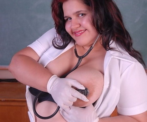 Kinky BBW nurse uses medical instruments and devices while masturbating