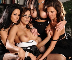 Four smoking hot MILFs in exotic lingerie having a lesbian orgy at work