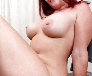 Deep-bosomed redhead maure lady adjacent to glasses undressing plus chaff in the flesh