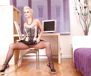 Mature office secretary moorland pantyhose and heels dissemination say no to twat
