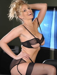 Blonde businesswoman plays on touching her twat damper stripping to nylons go forwards