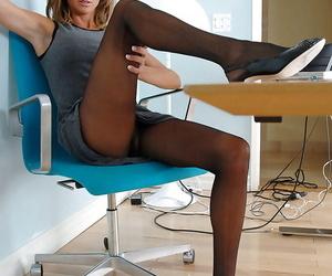 Mature office staff member respecting dark pantyhose Montana Skye masturbating on put emphasize bureau