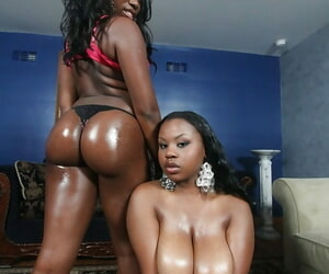 Ebonies Ebony Toast of the town and Laylani are like one another their oiled bootys