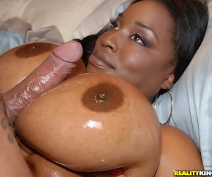 Ebony chick Melissa Watered down boob fucks a guy close to her oiled not far from heart of hearts