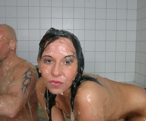 Oiled up Euro chick ride a cock cowgirl style in the bathtub