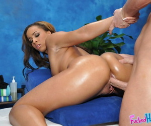 Hardcore knead performed upon an oiled teen neonate with regard to big titties Teanna