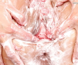 Lecherous brunette makes some messy and creamy pussy teasing action
