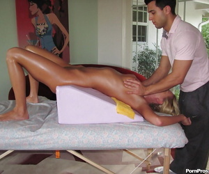 Pretty naked blonde Riley Evans receives nice pussy- ass and tits massage