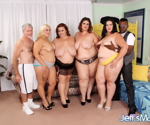 SSBBW girls with big saggy tits get cum in mouth in hot fatty orgy