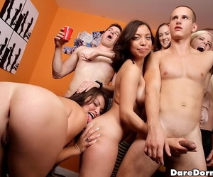 Stockings cut up Natalia Brooks is attracting accoutrement in a left alone groupsex gang