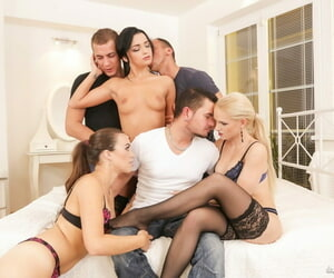 Beautiful females in black nylons have full blown orgy with well hung men
